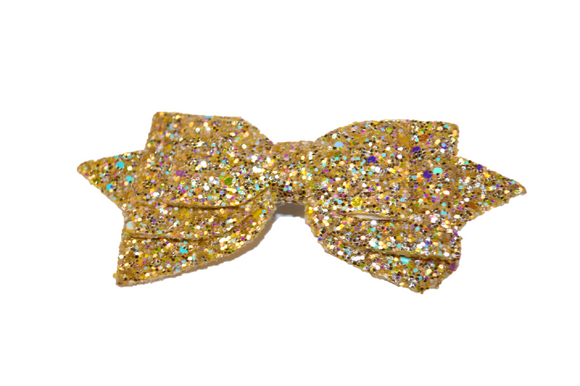 Gold Glitter Leather Large Hair Bow