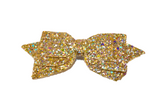 Gold Glitter Leather Large Hair Bow - Dream Lily Designs
