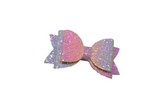 Rainbow Pastel Glitter Leather Large Hair Bow - Dream Lily Designs