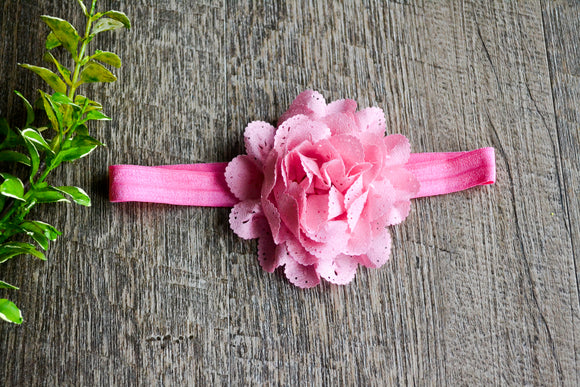 Light Pink Lace Eyelet Flower Headband - Dream Lily Designs