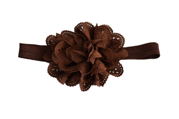Chocolate Brown Lace Eyelet Flower Headband - Dream Lily Designs