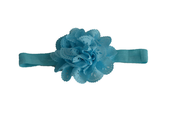 Light Blue Lace Eyelet Flower Headband - Dream Lily Designs