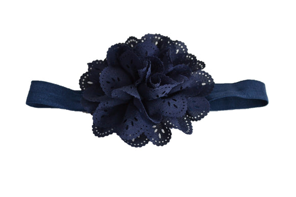 Navy Blue Lace Eyelet Flower Headband - Dream Lily Designs