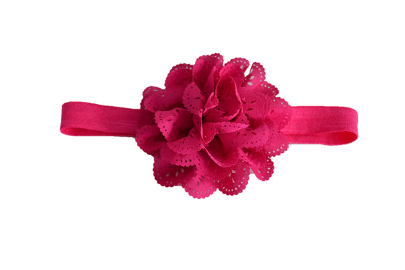 Hot Pink Lace Eyelet Flower Headband - Dream Lily Designs