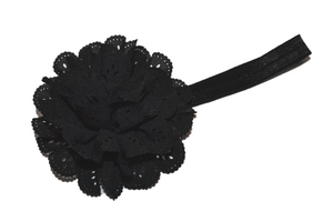 Black Lace Eyelet Flower Headband - Dream Lily Designs