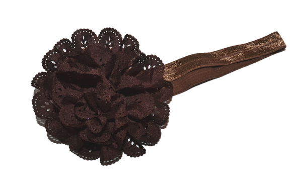 Brown Lace Eyelet Flower Headband - Dream Lily Designs