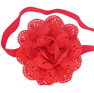 Red Lace Eyelet Flower Headband - Dream Lily Designs