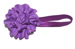 Light Purple Lace Eyelet Flower Headband
