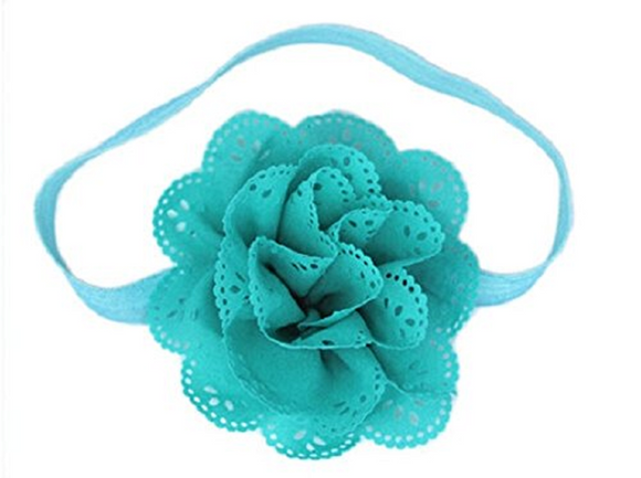 Teal Lace Eyelet Flower Headband - Dream Lily Designs