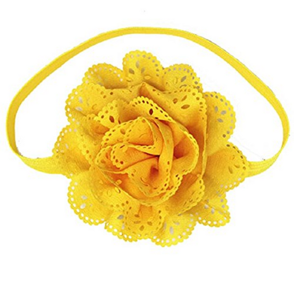 Yellow Lace Eyelet Flower Headband - Dream Lily Designs