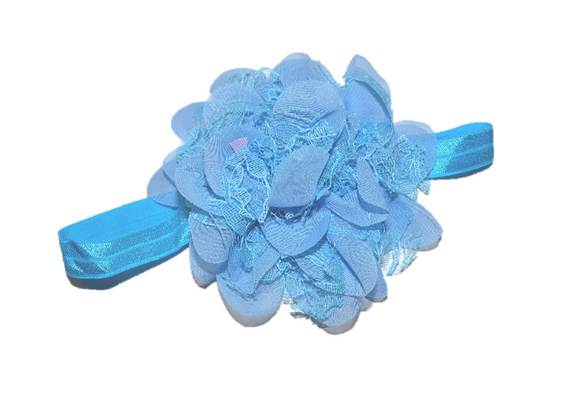 Light Blue Lace Flower Headband