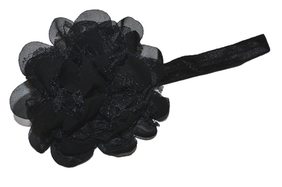 Black Lace Flower Headband