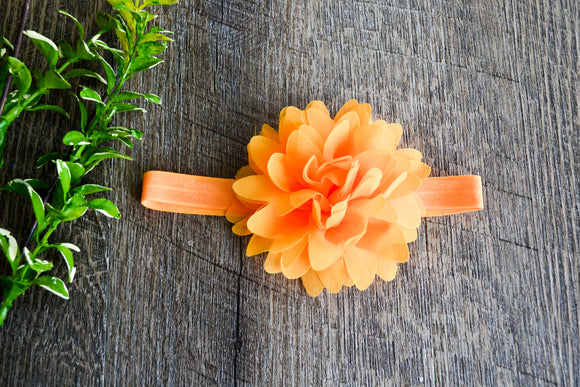 Mum Flower Headband - Merigold Orange - Dream Lily Designs