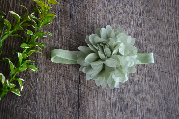 Mum Flower Headband - Mint Green - Dream Lily Designs