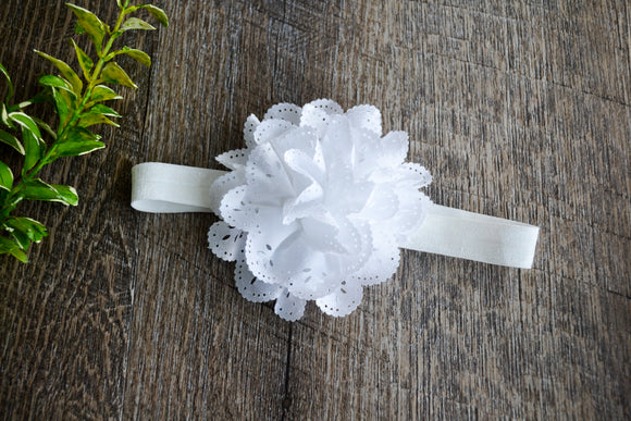White Lace Eyelet Flower Headband - Dream Lily Designs
