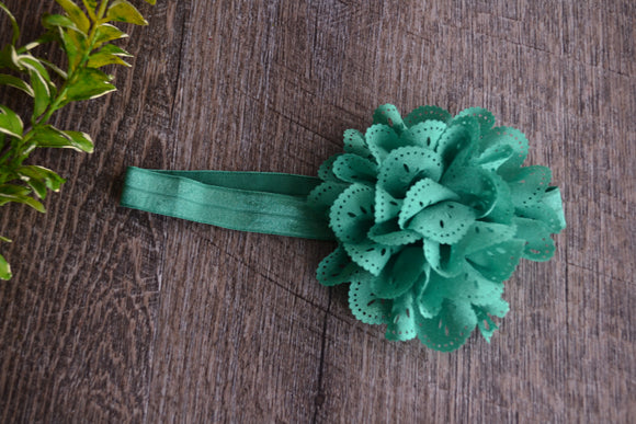 Emerald Teal Lace Eyelet Flower Headband - Dream Lily Designs