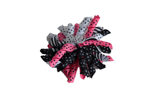 Pink Black White Polka Dot Large Korker Ribbon Hair Bow Clip - Dream Lily Designs