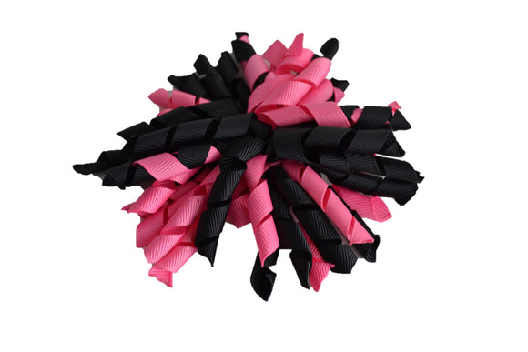Black Bubblegum Pink Large Korker Ribbon Hair Bow Clip - Dream Lily Designs