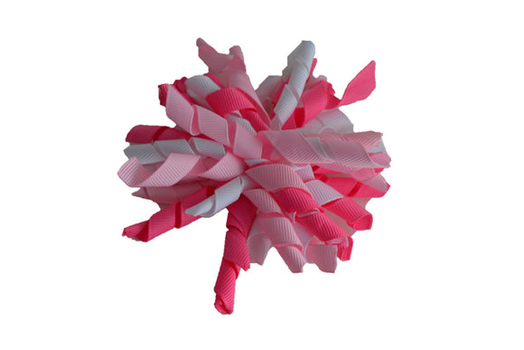 Pinks White Large Korker Ribbon Hair Bow Clip - Dream Lily Designs