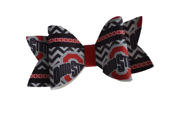 Black Ohio State Large Pattern Leather Bow Clip - Dream Lily Designs