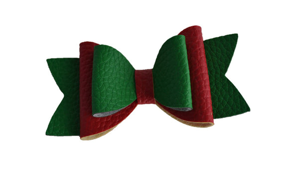 Red Green Christmas Large Pattern Leather Bow Clip - Dream Lily Designs