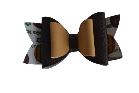 Girl Scout Cookie Brown Tan Large Pattern Leather Bow Clip - Dream Lily Designs