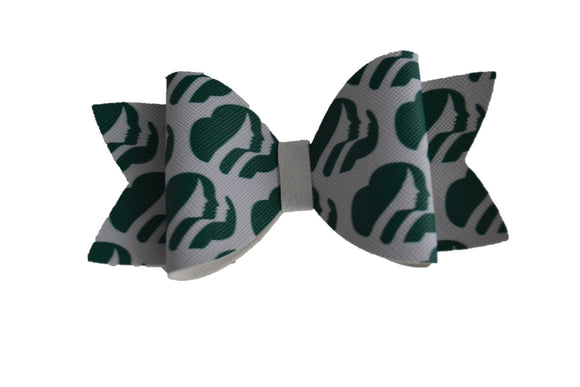 Girl Scout Crest Large Pattern Leather Bow Clip - Dream Lily Designs