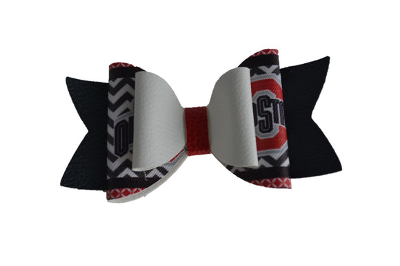 White Black Ohio State Large Pattern Leather Bow Clip - Dream Lily Designs