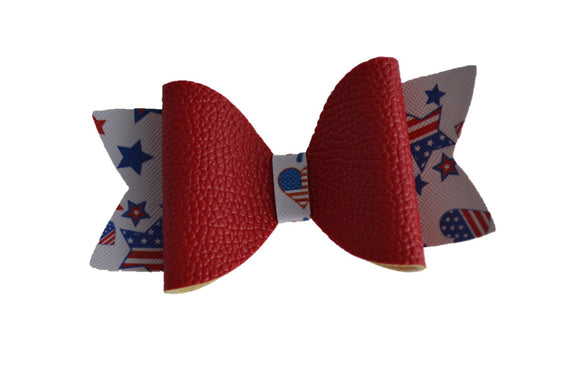 Red White Blue with Red Large Pattern Leather Bow Clip - Dream Lily Designs