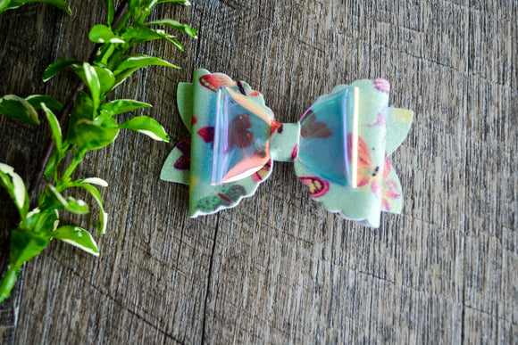 Glitter Leather Large Scalloped Edge Hair Bow - Mint Butterfly - Dream Lily Designs