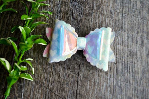 Glitter Leather Large Scalloped Edge Hair Bow - Pastel Hearts - Dream Lily Designs