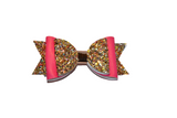 Gold and Pink Glitter and Leather Hair Bow - Dream Lily Designs