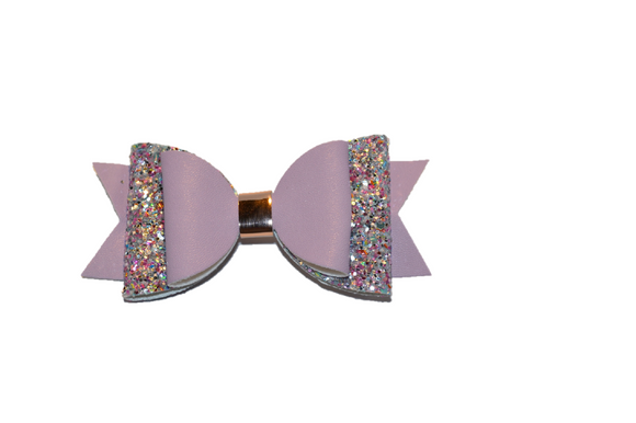 Light Purple Glitter and Leather Hair Bow