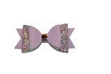 Light Purple Glitter and Leather Hair Bow - Dream Lily Designs