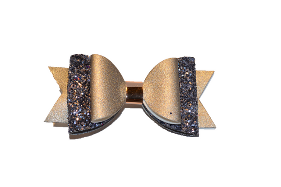 Grey Glitter and Leather Hair Bow