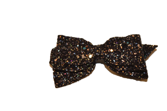 Black Glitter Leather Large Hair Bow