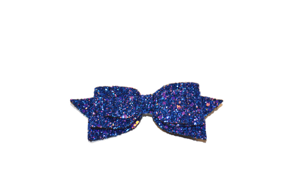 Dark Blue Glitter Leather Large Hair Bow
