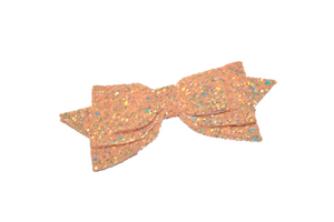 Peach Glitter Leather Large Hair Bow - Dream Lily Designs