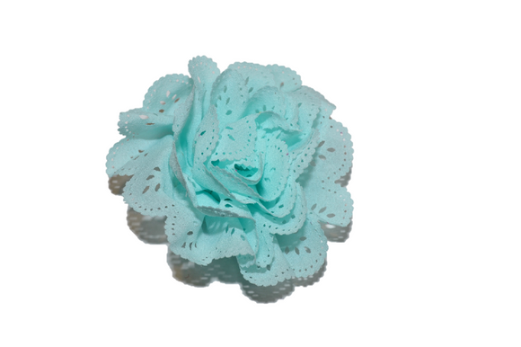 Aqua Lace Cutout Flower Hair Clip