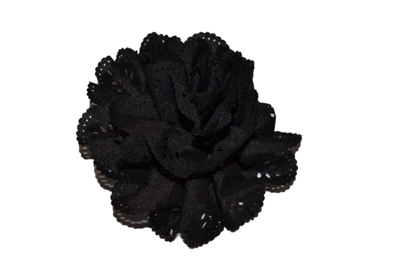 Black Lace Cutout Flower Hair Clip