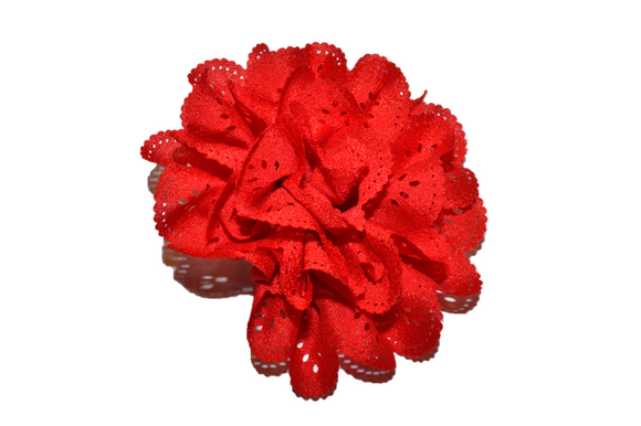 Red Lace Cutout Flower Hair Clip - Dream Lily Designs