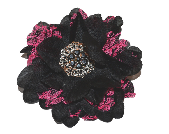 Black with Hot Pink Lace Flower Hair Clip