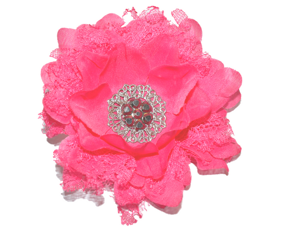 Hot Pink Lace Flower Hair Clip