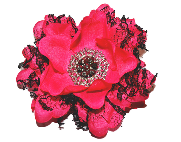 Pink with Black Lace Flower Hair Clip