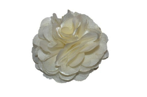 Large Silk Puff Flower Hair Clip - Ivory