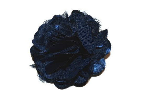 Large Silk Puff Flower Hair Clip - Navy Blue