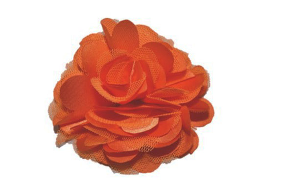 Large Silk Puff Flower Hair Clip - Orange