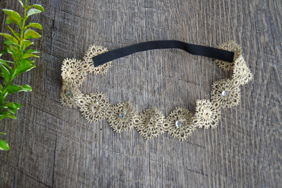 Gold Lace Headband - Circles - Dream Lily Designs