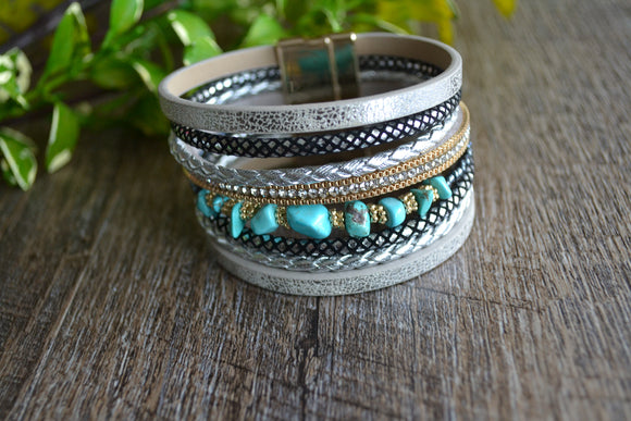 Women's Magnetic Leather Bracelet - Silver Teal Marble Beaded Rhinestone Bracelet - Dream Lily Designs