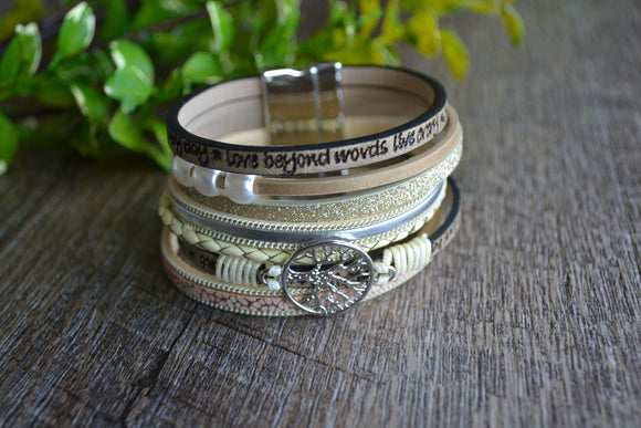 Women's Magnetic Leather Bracelet - Pink Gold Silver Tree of Life Bracelet - Dream Lily Designs